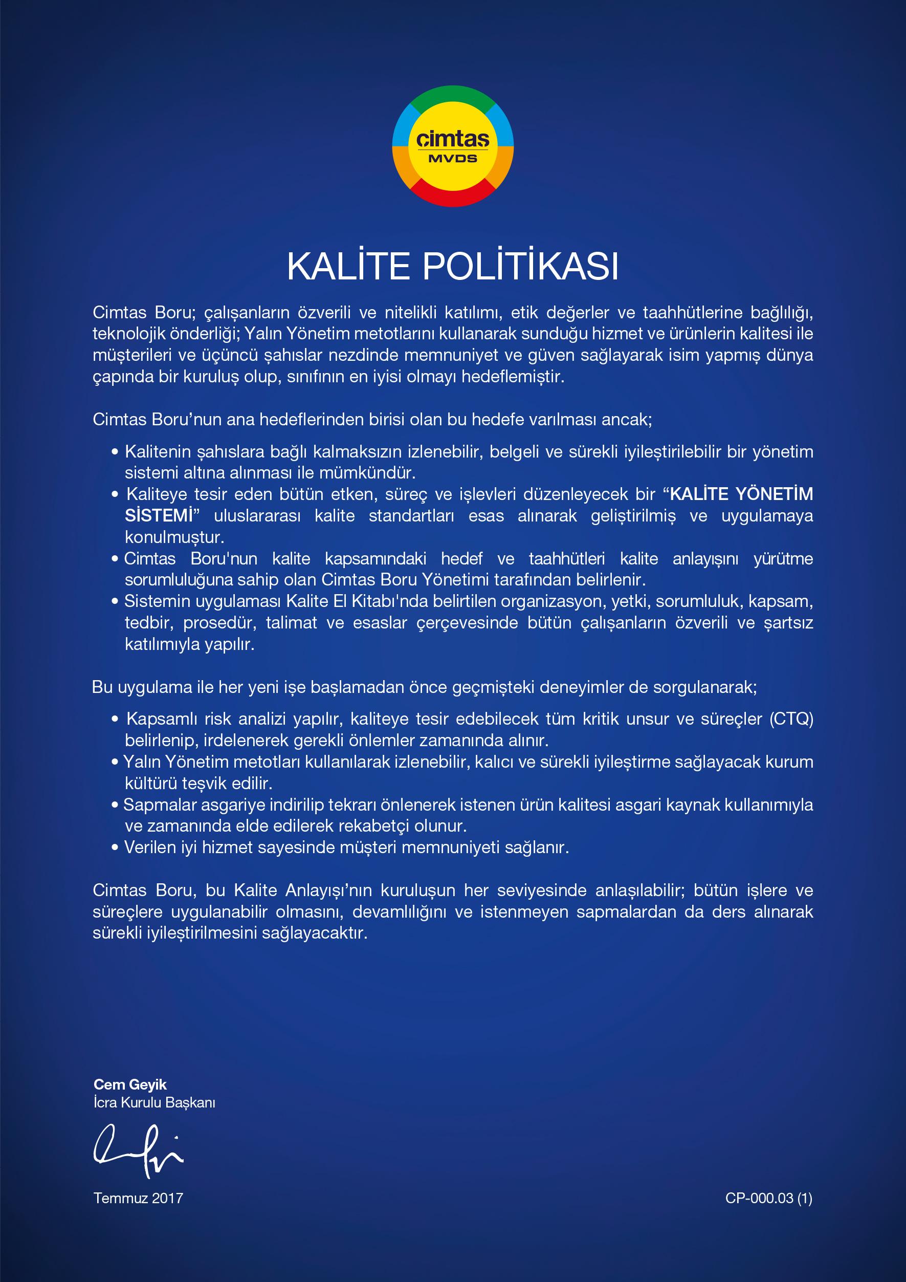 Kalite Politikasi